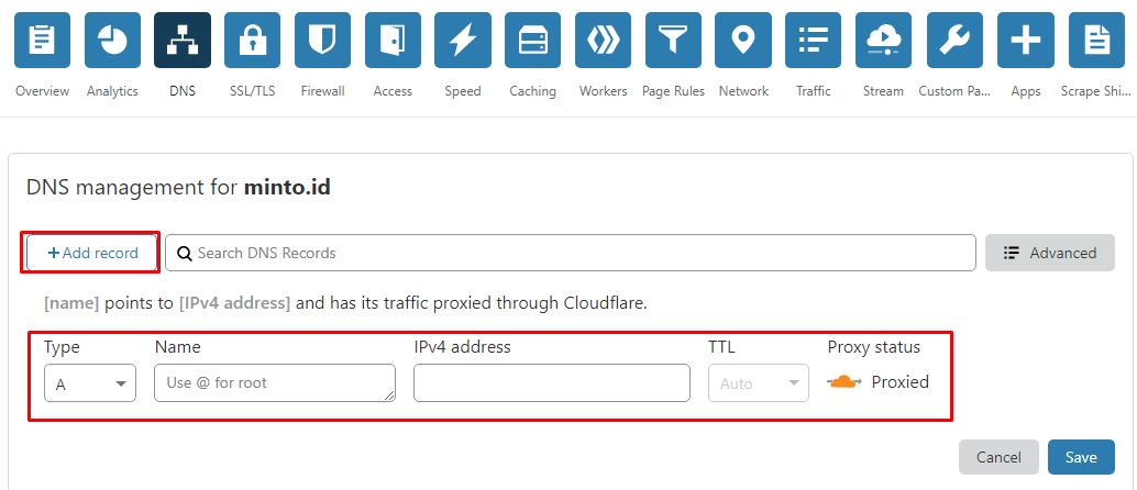 Cara Menambah dan Mengubah DNS Record di Cloudflare