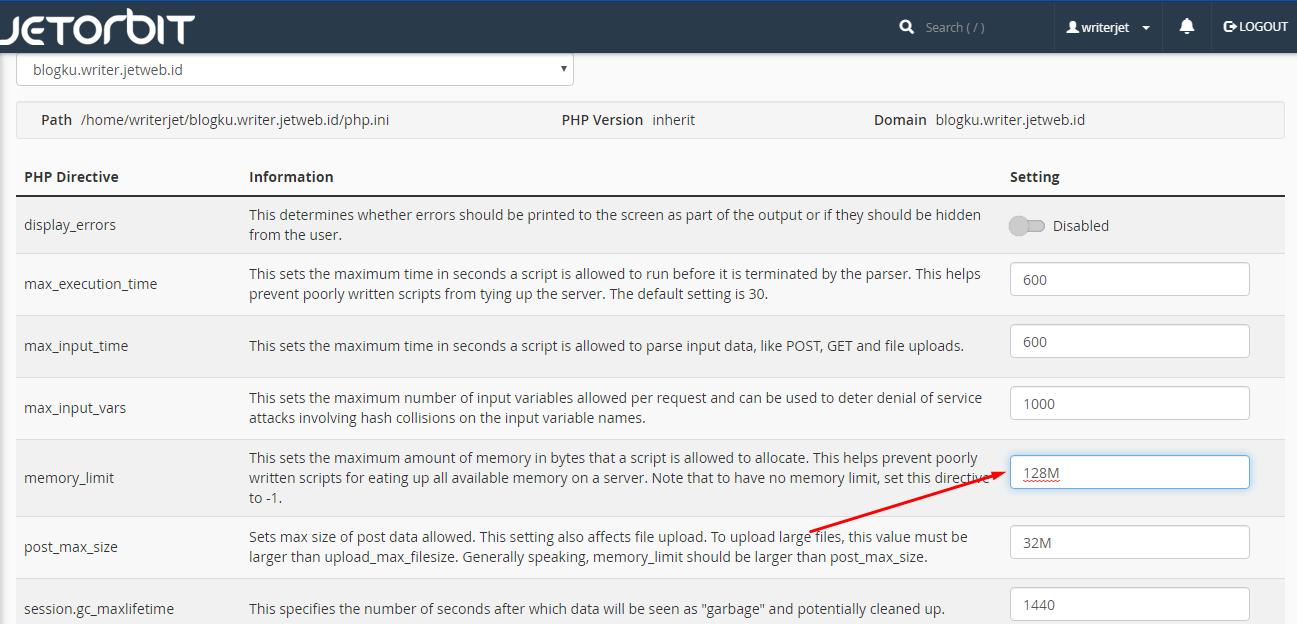 Cara Mengubah Memori Limit PHP di Cpanel