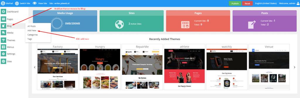 Menambah Blog di Sitepad Website Builder