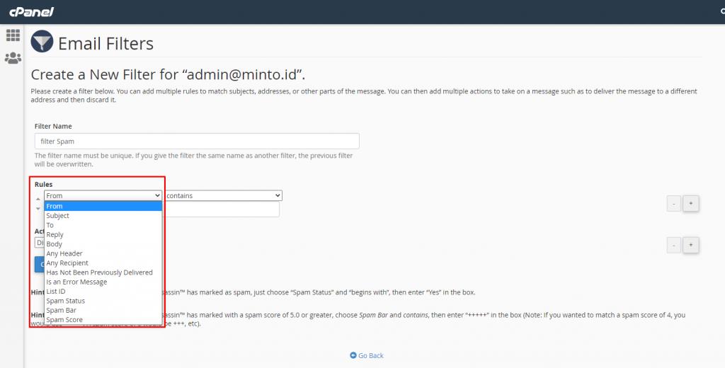 Cara Konfigurasi Mail Filter di Cpanel