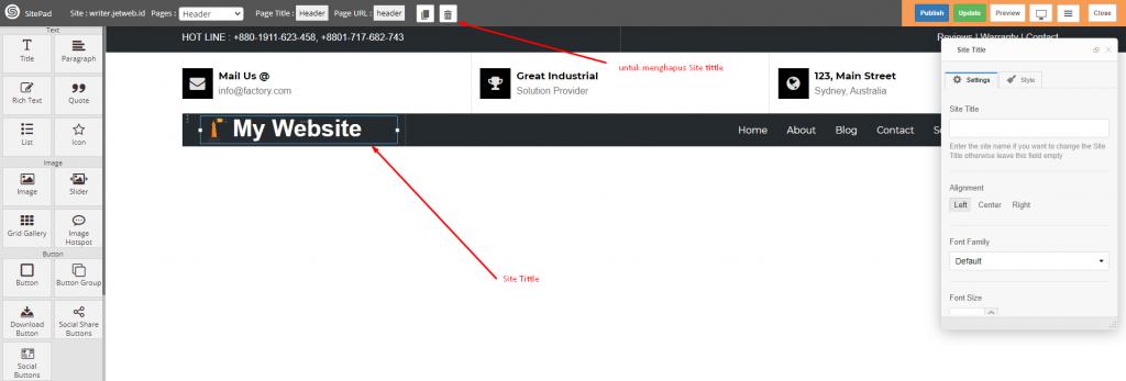 Menambah Custom Logo di Sitepad