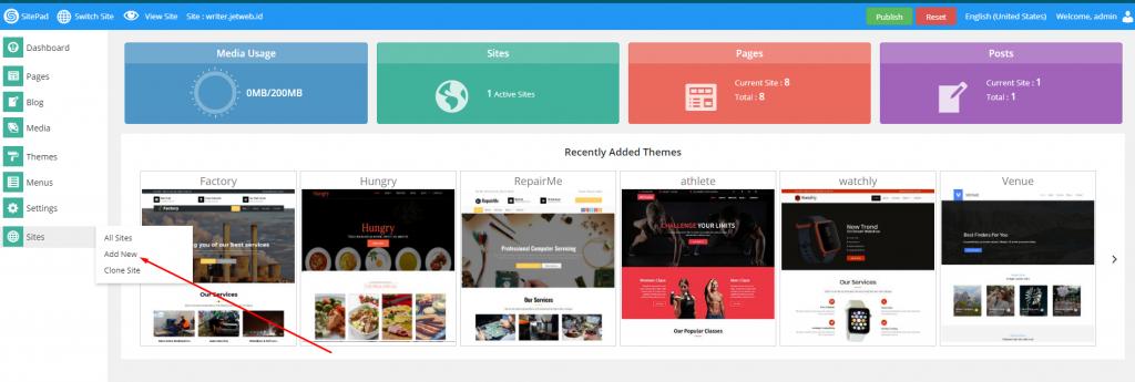 Menambah Website baru di Sitepad Website Builder