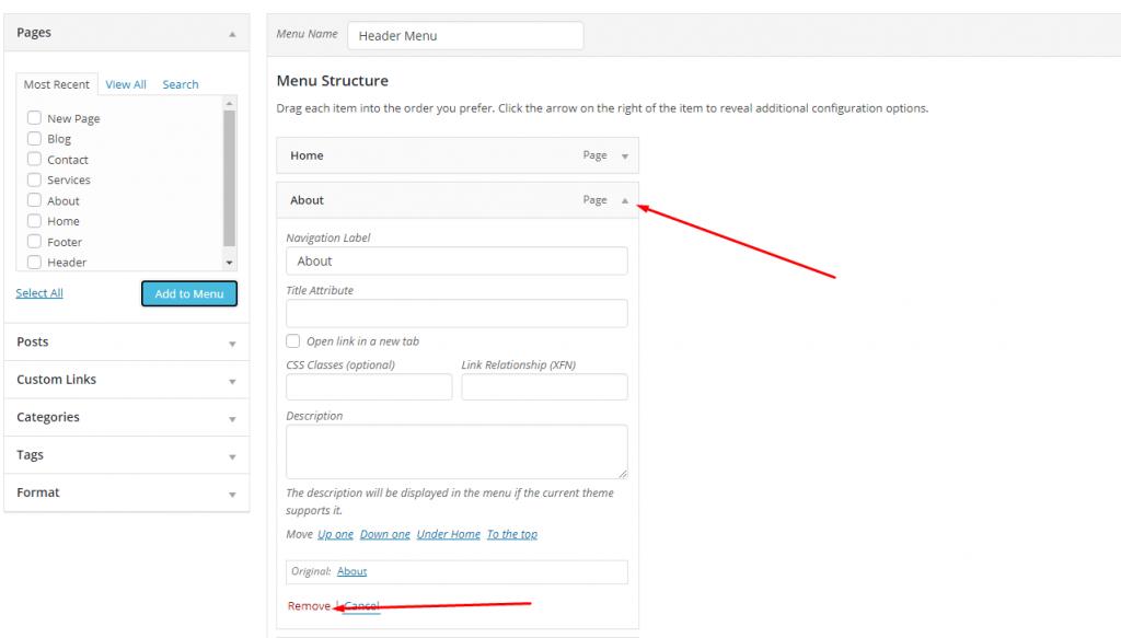 Membuat Menu di Sitepad Website Builder