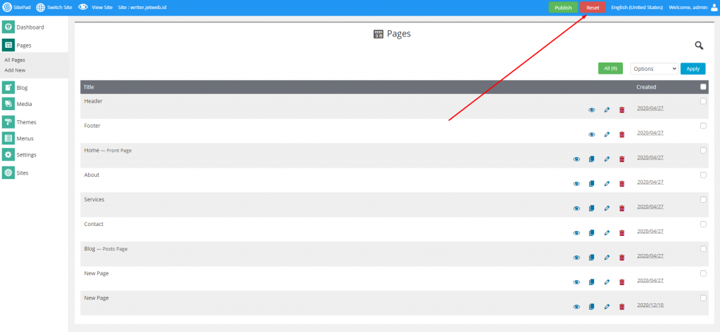 Cara Reset Page,Site dan Blog di SItepad Website Builder