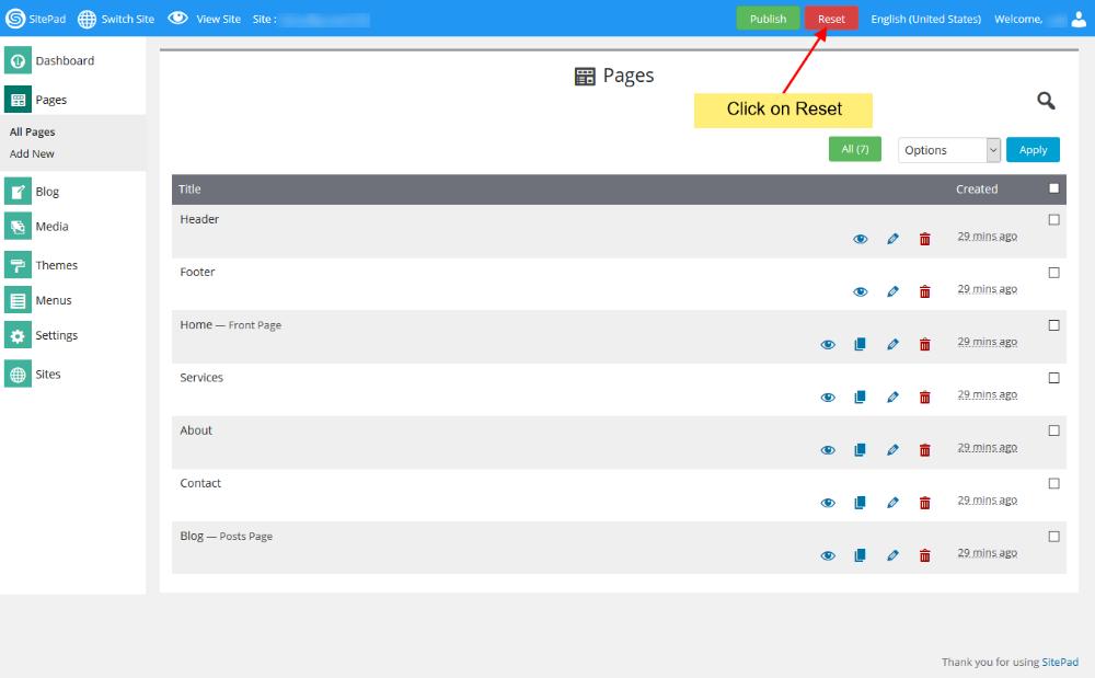 Cara Reset Sitepad Website Builder