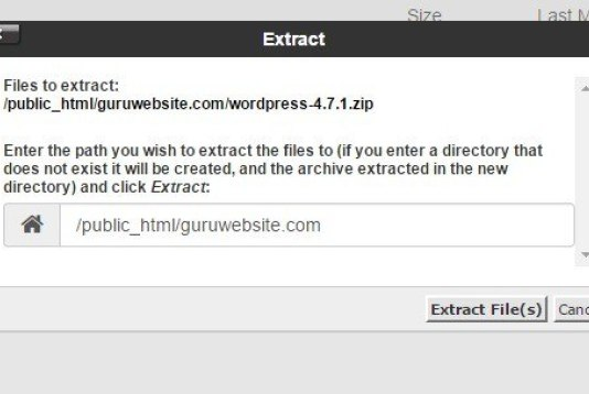 extract file WordPress tadi